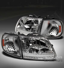 97-03 FORD F-150/97-02 EXPEDITION CRYSTAL HEAD LIGHTS LAMP W/CORNER CHROME/AMBER