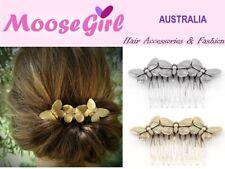Gold Silver Triple Butterflies Hair Comb Women Hair Clips Metal Hair Combs