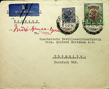 1936 INDIA G V 2V WITH 1Re VIA GREECE GERMANY AIRMAIL COVER