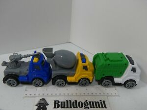 Lot of 3 Kids Plastic Construction Military Plastic Trucks Toy Cement Garbage