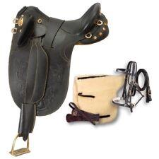 17 Inch Australian Stockpoly Saddle Pkg - Black Leather - No Horn -Regular Tree
