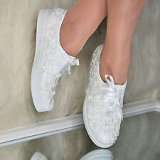 Womens Bridal Floral Lace Trainers Satin Lace-up Wedding Embellished Flats Comfy