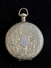 Vintage Silver Tone Pocket Watch Case Steampunk Antique Look Two Tone Etched