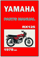 YAMAHA Parts Manual RX125 1978 1979 1980 on Replacement Spares Catalog List