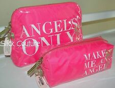 Victoria's Secret Angels Makeup Cases Cosmetic Bags Wings Hot Pink Rare 2pc Nwt