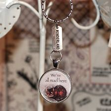 Alice in Wonderland Keyring Cheshire Cat We're All Mad Here & Wonderland charms