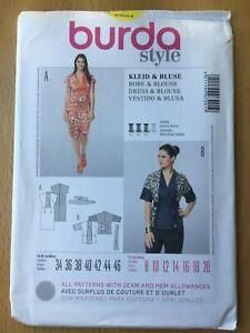 New Unused Burda Sewing Pattern Dress & Blouse Size 8-10-12-14-16-18-20
