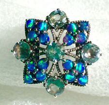 Ring Natural Aquamarine & Australian Opal Sterling Silver Ring Size 6.75
