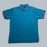 Mens Vintage Kappa Polo Shirt Medium Blue Short Sleeve.