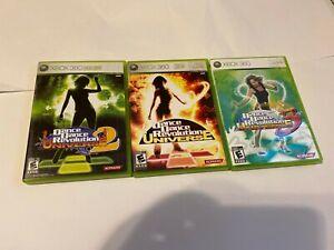 Dance Dance Revolution Universe 1, 2 & 3 Games Lot Bundle Xbox 360   Complete