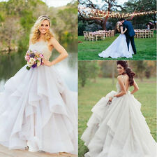 2016 Ball Gown Organza Layers Wedding Dress Beading Bridal Gown Custom Size