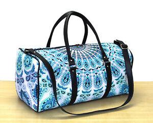 White & Blue Mandala Duffle Sports Gym Bag Unisex Travel Bags Cotton Handbags
