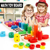 Wooden Preschool Learning Toy Rings Montessori Math Counting Board For