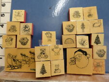 Wood mounted Christmas stams candles christmas tree  RUBBER STAMP 18S