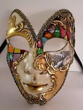 MAR6 BUTTERFLY MASK, HANDMADE IN VENICE, PAPIER MACHE, HANDPAINTED HARLEQUIN