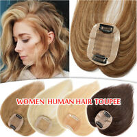 TOP Clip In 100% Human Hair Topper Toupee THICK Hairpiece Wiglet Women Mix Brown