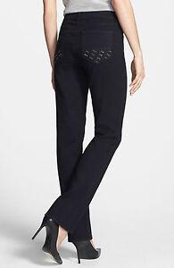 NYDJ Marilyn Embellished Pocket Straight Leg Black Jeans BNWT RRP $219 US Size