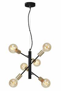 Pendelleuchte mit 6 Spots E27 Metall 60 W Schwarz-pale-gold Briloner Leuchten