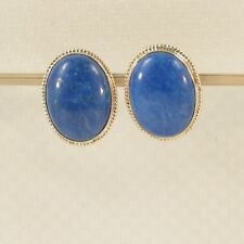 14k Solid Yellow Gold Genuine Oval Cabochon  Lapis Lazuli Stud Earrings TPJ