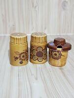 Vintage Retro 60's-70's Worcester Palissy Brown Glazed Flower Cruet Set Mustard