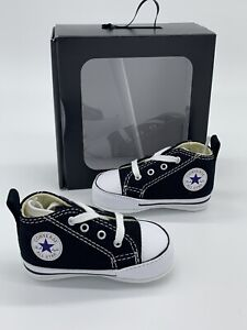 Converse Baby Shoes First Star Bootie Black Size 3 Crib Infant Chuck Taylor's