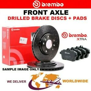 BREMBO Drilled Front BRAKE DISCS + PADS for VW TIGUAN 2.0 TSI 4motion 2011-2018