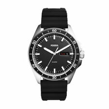 Fossil Men's Sport 54 Black Silicone Band Day Date 3-Hand Analog Watch FS5290