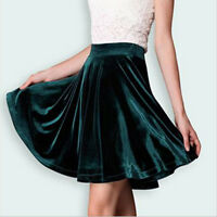 New Fashion Women Sexy High Waist Skater Velvet Mini Skirt Plain Flared Pleated
