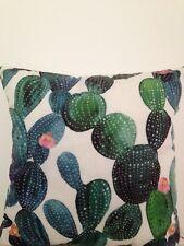 Cactus Plant Indoor Tropical Green Velvet Look Square Lumbar Retro Cushion Cover