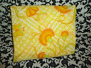 """VINTAGE SEARS YELLOW ORANGE GREEN FLORAL JACOBEAN (1) TWIN FITTED SHEET 8"""""""
