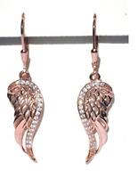 Echt 925 Sterling Silber Ohrringe Flügel Zirkonia crystal Engel rosegold  Nr 9C