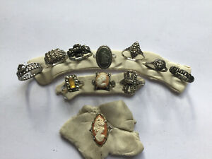 11 x Antique Victorian Silver Marcasite & Cameo Rings No Reserve