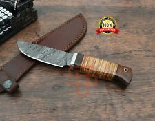 Damascus Steel Skinner knife Hand forged knives Leather and Walnut wood handle