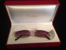 VINTAGE CARTIER RIMLESS BROWN GRADIENT LENS SUNGLASSES MADE IN FRANCE W/BOXES