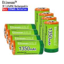 Etinesan 8PCS Cr123a 3v  Li-ion LlTHIUN 1350mAh Rechargeable Battery