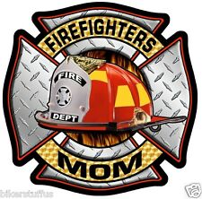 FIREFIGHTERS MOM BUMPER STICKER - FD HELMET STICKER/DECAL BUMPER STICKER