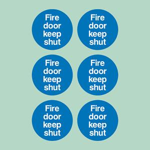x6 Fire Door Keep Shut 85x85mm Stickers - Safety, Fire Exit, Emergency Escape