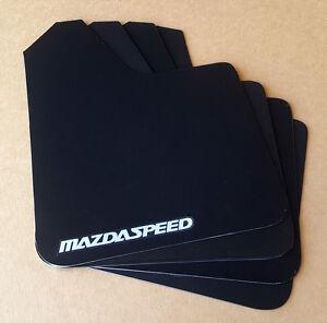 [SR] 04-16 Mazdaspeed 3 & Mazda 3 Rock Mud Flaps STARTER Set BLACK w/ Vinyl Logo
