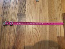 Size Large/Medium Pink PU Leather Dog Collar D Ring Alloy Buckle Adjustable Leng