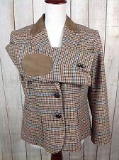 Talbots Size 12 Petite Wool Women Equestrian Houndstooth Jacket Blazer Elbow Pad