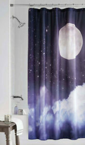 Moon Fabric Shower Curtain Celestial Night Sky Stars Clouds Space Galaxy 70x72
