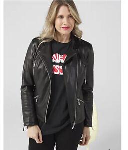 Dannii Minogue Faux Leather Biker Jacket with Ponte Trim Petite Black Size UK 12