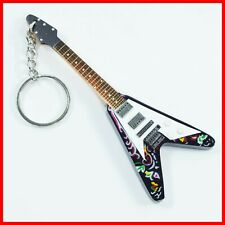 HENDRIX GUITARE MINIATURE PORTE CLE ! Jimi Bois Flying V Psychedelic Keychain