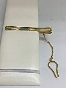 18K Yellow/white  Gold Tie Bar Clip ~ 5.7G