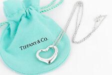 "Tiffany & Co. Medium Open Heart Sterling Silver Pendant 16"" Necklace w/ Pouch"