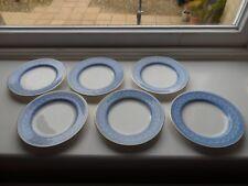 6 x Antique 1896 Royal Worcester Tea Plates Blue & White Fine Gold Edged Rim