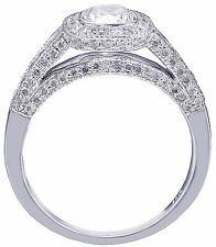 14k White Gold Cushion Cut Diamond Engagement Ring Bezel Set Bridal Halo 1.40ctw