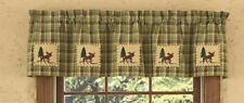 Juniper Moose Patch Lined Cotton Country Cabin Window Valance 60 x14 Home Decor