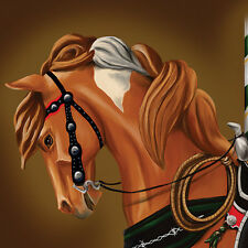 """Lyric the Cowpony"" ~Pinto Carousel Horse  7X10 Print"