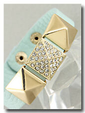Beautiful Gold and Crystal Sparkle Bracelet on a Shimmer AquaLeather Band